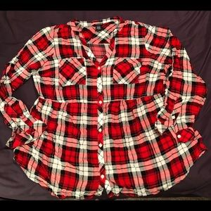 Red Plaid Blouse